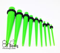 Taper in Green Acrylic With O Rings In Single Or 9PC Kit