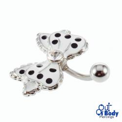 White Bow With Black Dots Belly Ring