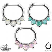 Septum Clicker Hinged 5 Prong Set Opalites Nose Ring