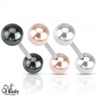 316L Steel Straight Barbell With Pearl Coated Ball Mix Size
