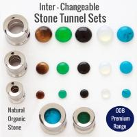 316L Steel Inter-changeable Stone Threaded Tunnel Sets