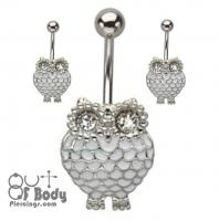 Baby White Owl Enamel And Crystal Belly Ring