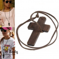 Brown Wood Cross With Leather Rope